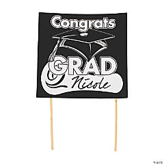 """Congrats Grad"" Yard Sign - Black"