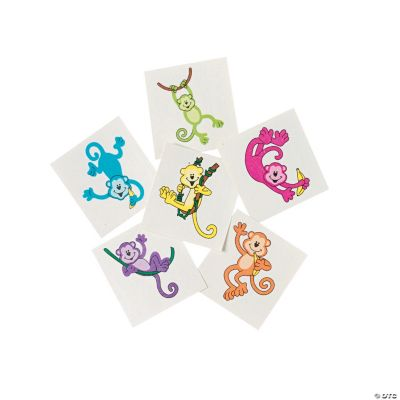 "Neon Monkey Tattoos. Each 1 1/2"" temporary tattoo has a vivid monkey design."