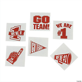 """Go Team!"" Tattoos - Red"
