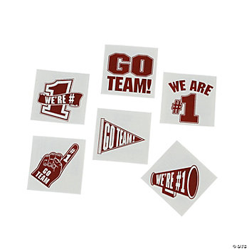 """Go Team!"" Tattoos - Burgundy"