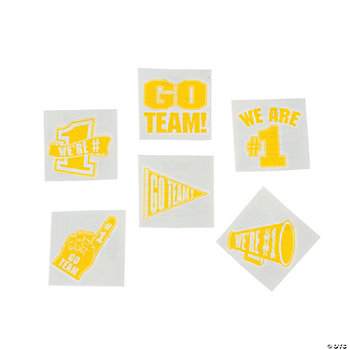 """Go Team!"" Tattoos - Yellow"