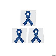 Blue Awareness Ribbon Tattoo Stickers