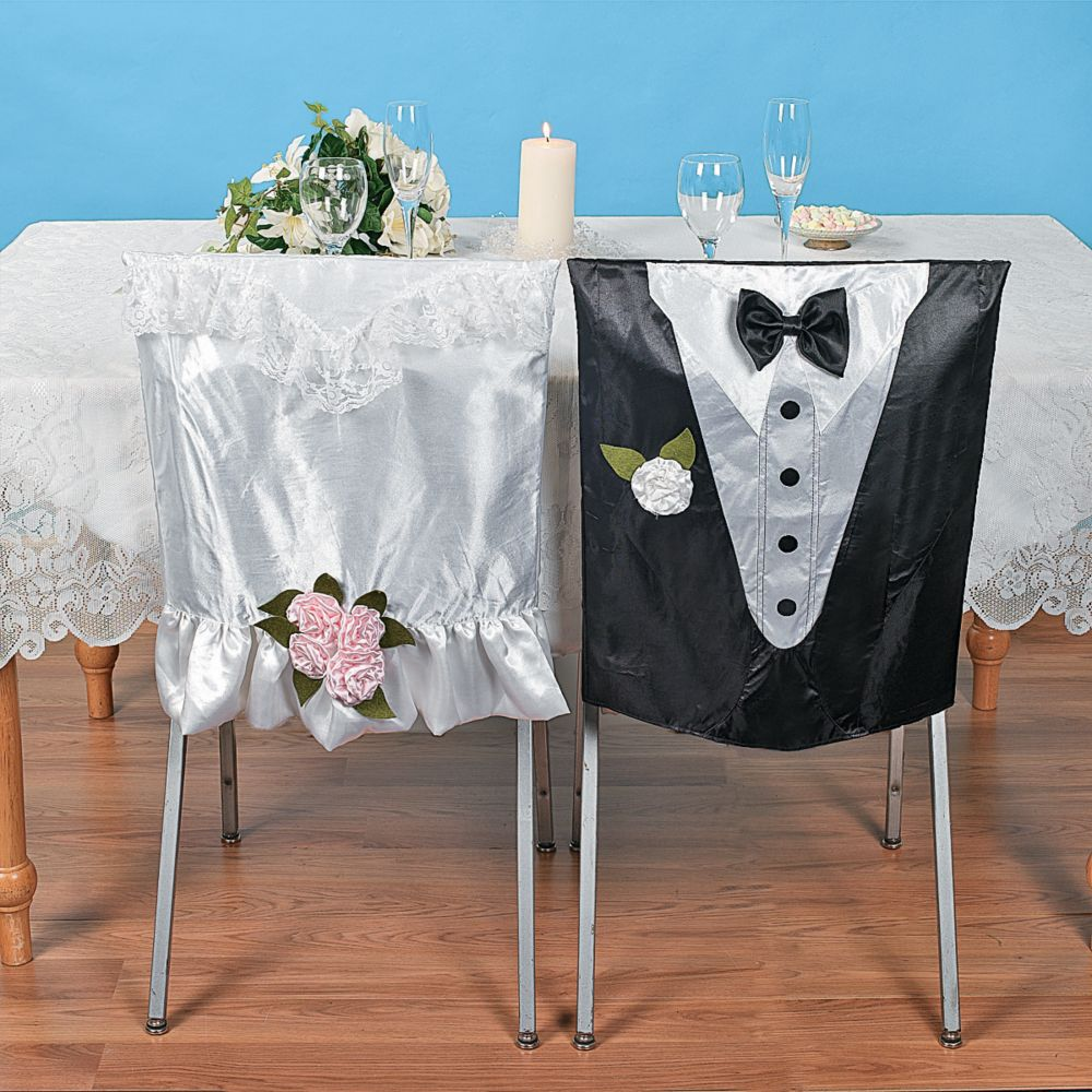 Bride & Groom Chair Covers - Party Decorations & Chair Covers