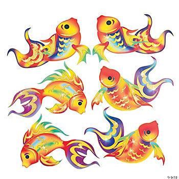 Cardboard chinese new year glitter fish cutouts