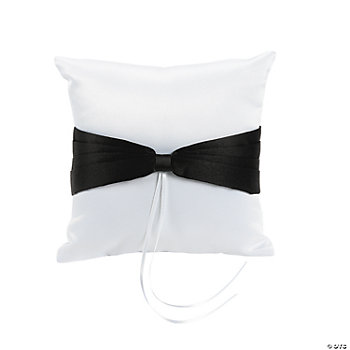 Satin Wedding Ring Pillow With Black Bow Accent