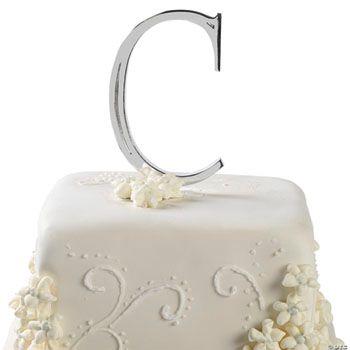 Large Silver ?C? Monogram Letter Cake Topper - Oriental ...