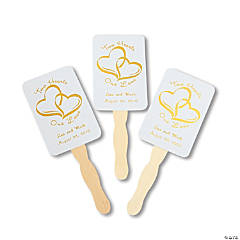 Personalized Gold Two Hearts Wedding Fans