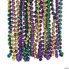 Plastic Metallic Tri-Color Mardi Gras Beads