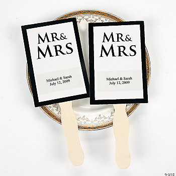 "Personalized ""Mr & Mrs"" Wedding Fans"