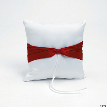 Satin Wedding Ring Pillow With Red Bow Accent