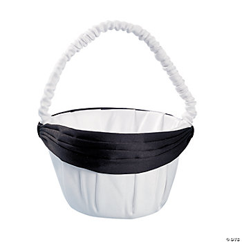Satin Wedding Basket With Black Bow