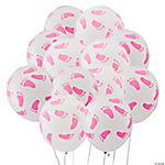 Pink Latex Baby Footprints Balloons