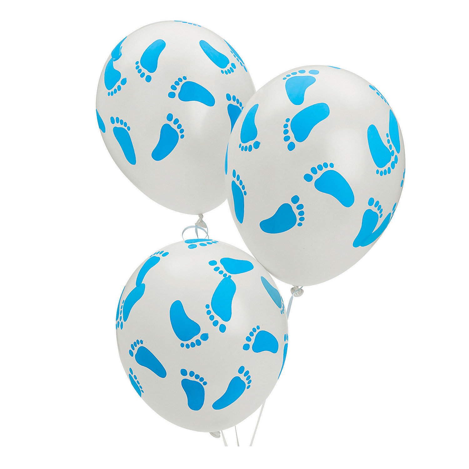 Blue latex baby footprints balloons oriental trading for Balloon decoration for baby shower
