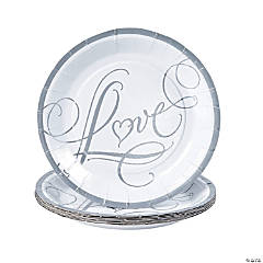 """Love"" Wedding Dessert Plates"