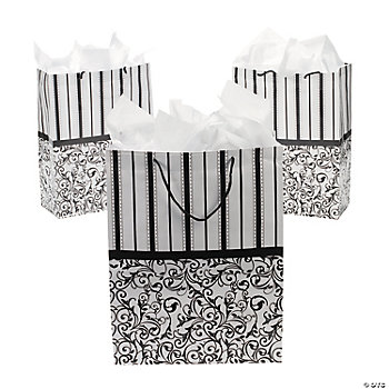 Large Black And White Wedding Gift Bags