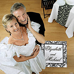 Personalized Black And White Wedding Floor Cling