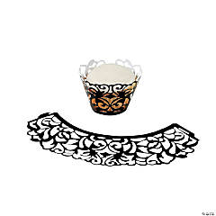 Laser-Cut Cupcake Collars - Black