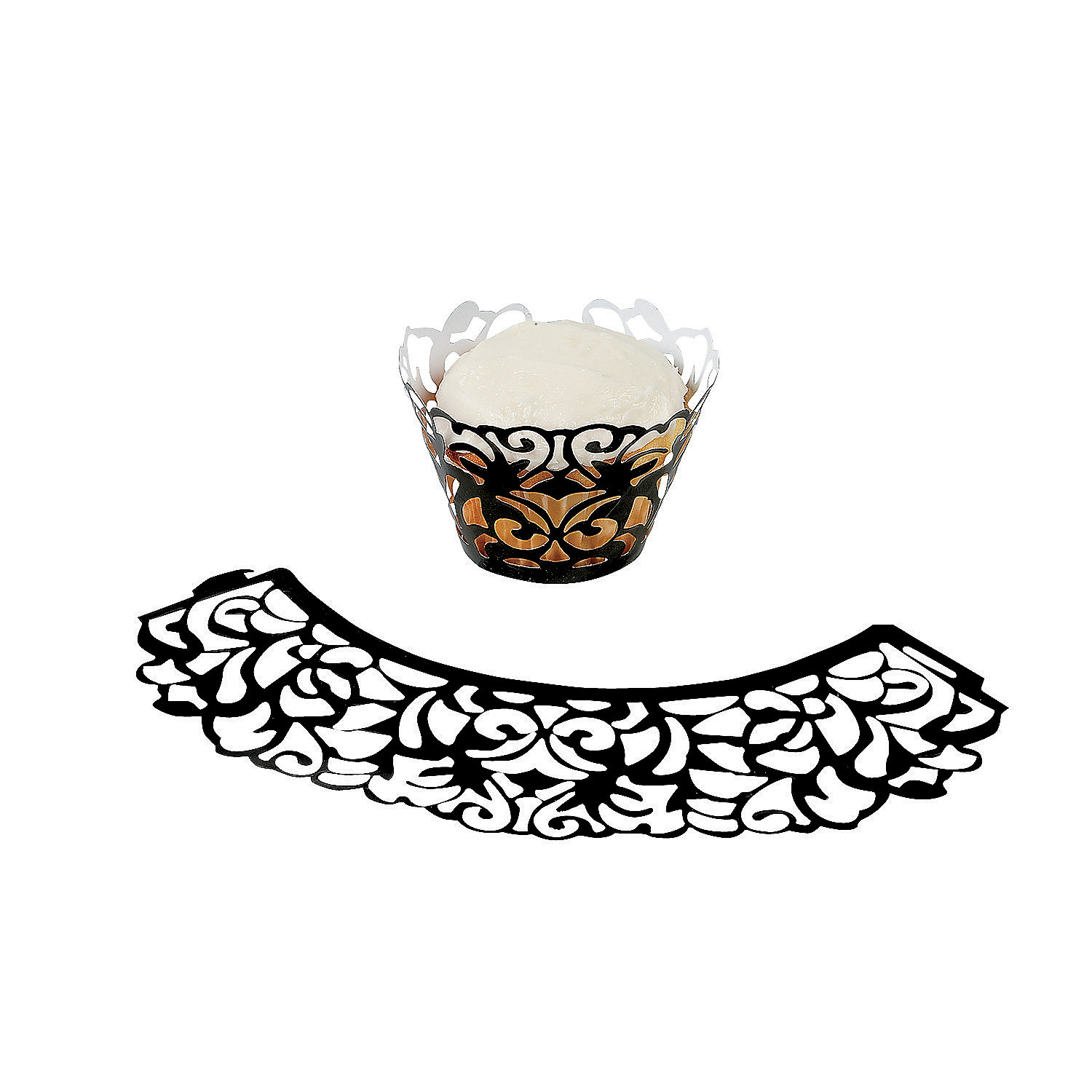 Laser-Cut Cupcake Wrappers - Black - Oriental Trading