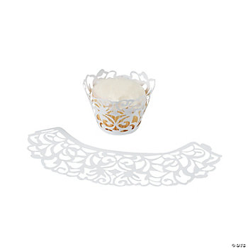 Laser-Cut Cupcake Collars - White