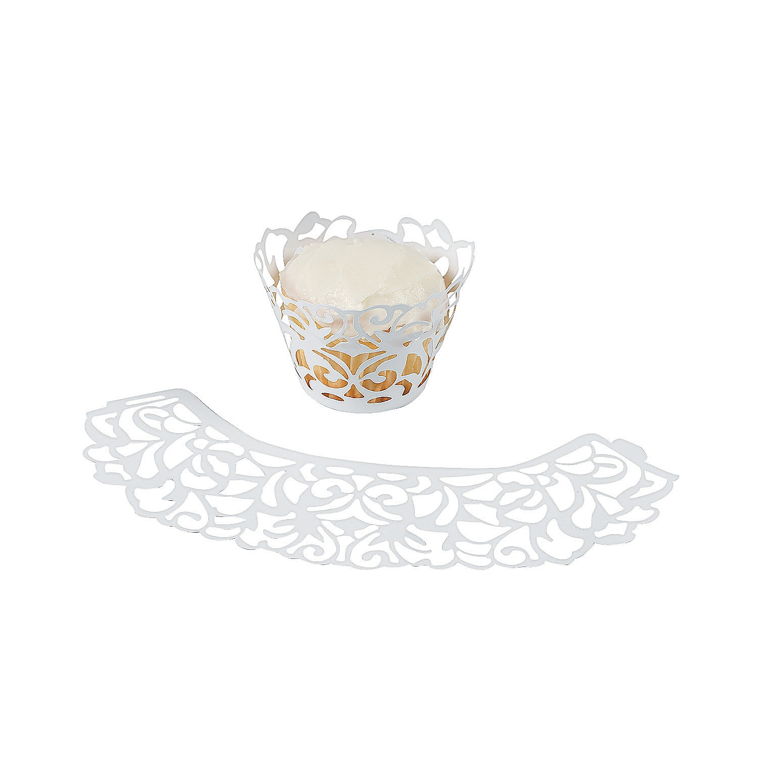 Laser-Cut Cupcake Wrappers - White - Oriental Trading