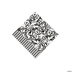 Black And White Wedding Beverage Napkins
