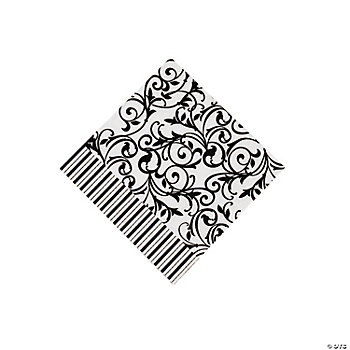 Black & White Wedding Beverage Napkins