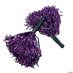 Purple Shiny Pom-Poms