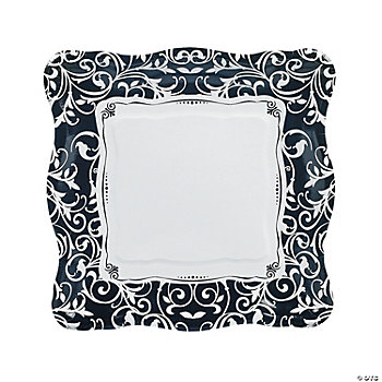 Black & White Wedding Plates - Dinner