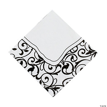 Black & White Wedding Luncheon Napkins