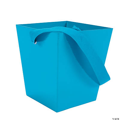 Turquoise Buckets with Ribbon Handle