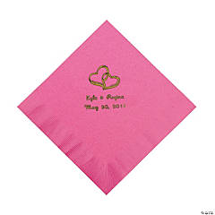 Personalized Gold Two Hearts Luncheon Napkins - Candy Pink