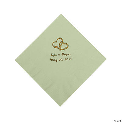 Personalized Gold Two Hearts Beverage Napkins - Sage Green
