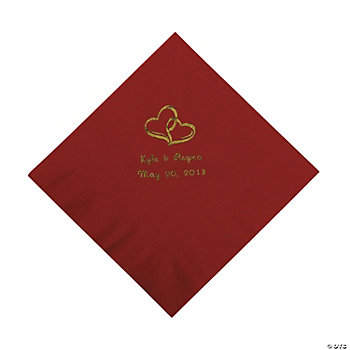 Personalized Gold Two Hearts Luncheon Napkins - Burgundy