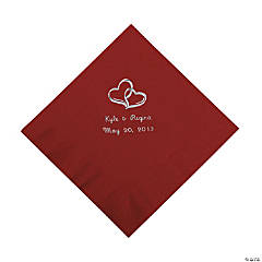 Personalized Two Hearts Luncheon Napkins - Burgundy