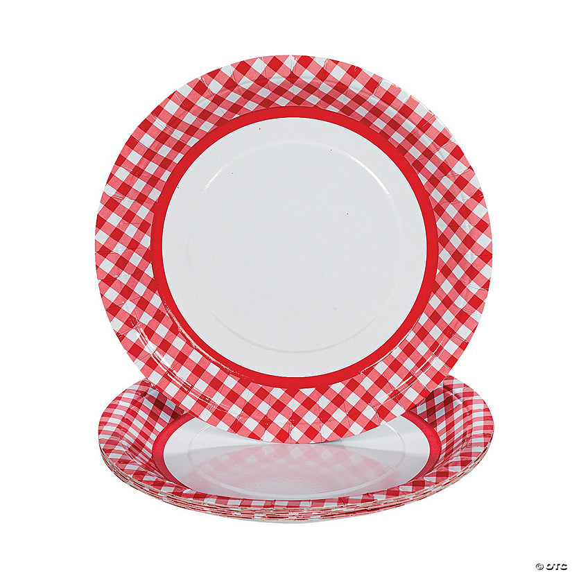 sc 1 st  Oriental Trading & Red Gingham Paper Dinner Plates
