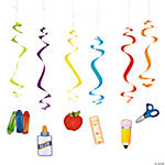 12 School Supplies Dangling Swirls