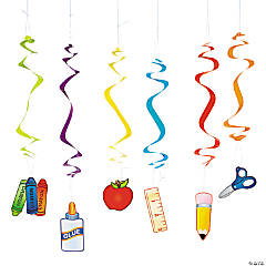 School Supplies Hanging Swirls