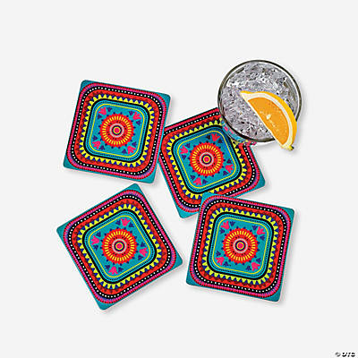 Fiesta drink coasters oriental trading discontinued for Best coasters for sweaty drinks