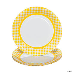 Yellow Gingham Dinner Plates