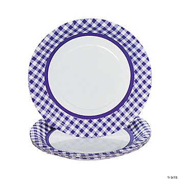 Purple Gingham Dinner Plates