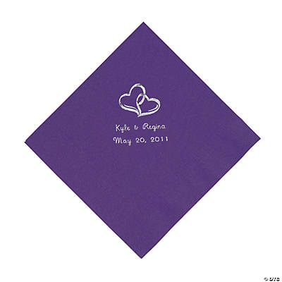 Personalized Silver Two Hearts Luncheon Napkins - Purple