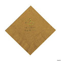 Personalized Gold Two Hearts Luncheon Napkins - Gold