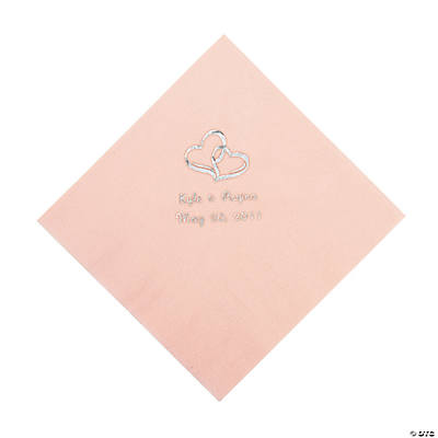 Personalized Two Hearts Luncheon Napkins - Pink