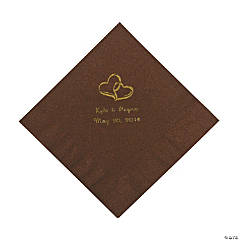 Personalized Gold Two Hearts Luncheon Napkins - Chocolate