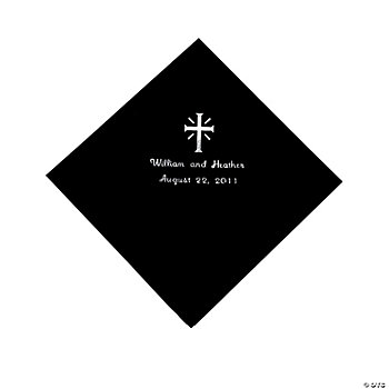 Personalized Cross Black Luncheon Napkins