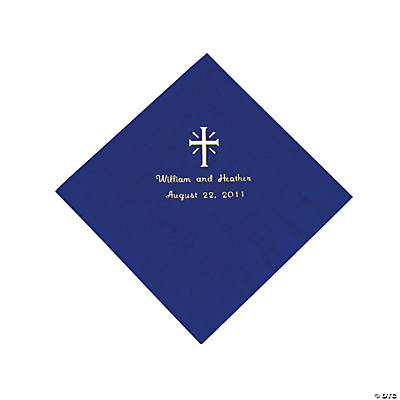 Personalized Cross Purple Luncheon Napkins