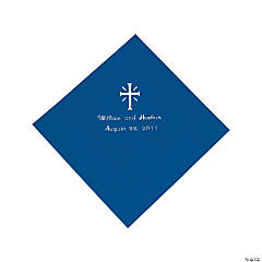 Personalized Cross Blue Luncheon Napkins