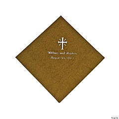 Personalized Cross Gold Luncheon Napkins