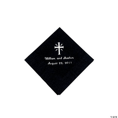 Personalized Cross Black Beverage Napkins