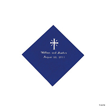 Personalized Cross Purple Beverage Napkins